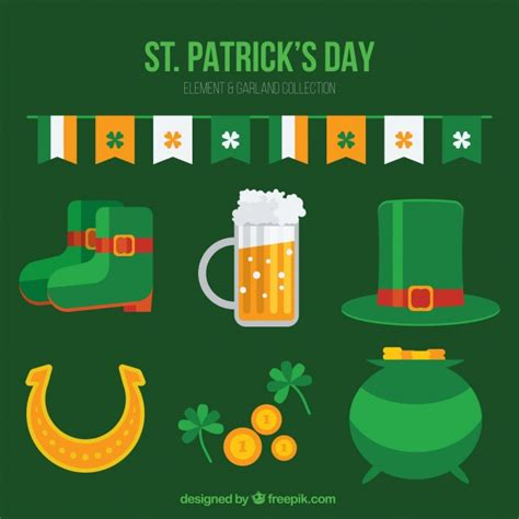 st s day items collection of flat traditional st s day items vector free