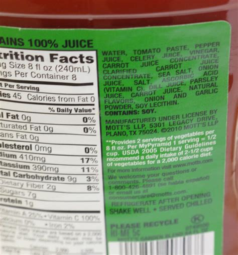 8 Food Facts by V8 Nutrition Facts Low Sodium Nutrition Ftempo