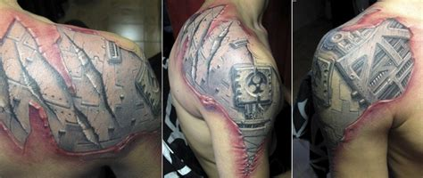 tattoo 3d effekt biomechanik tattoo 50 bilder mit roboterhaften motiven