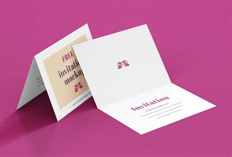 bi fold greeting invitation card mockup psd set