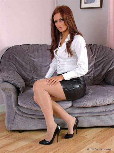 tight leather skirts stockings high heels horny slut wearing a tight leather skirt and gorgeous high