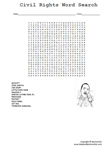 Martin Search Martin Luther King Jr Word Search Edumonitor