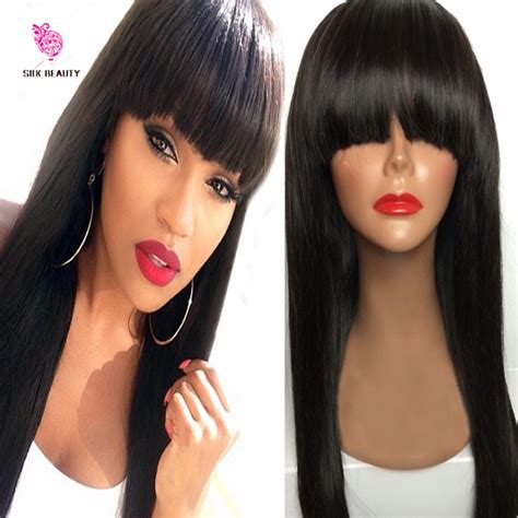 chinese bang wigs for black women new arrival peruvian virgin hair full fringe wig human