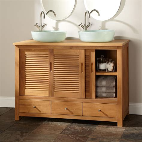 kitchen sink furniture 48 quot arrey teak double vessel sink vanity natural teak bathroom
