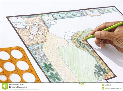 patio l landscape architect design l shape garden plan stock photo