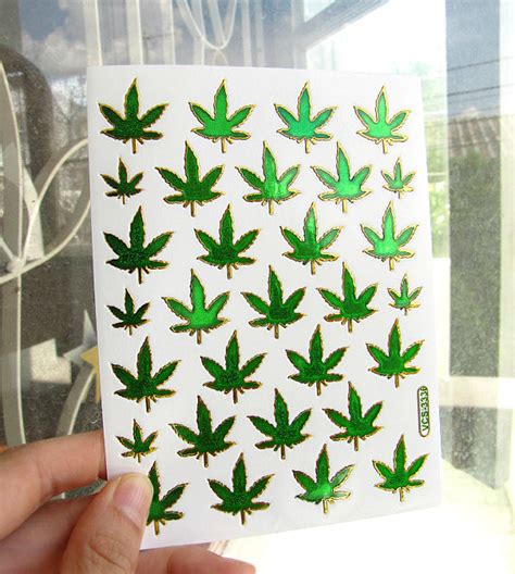 3 sticker sheets holographic weed marijuana pot leaf