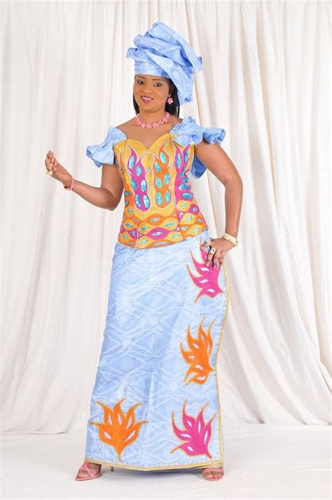 gambian hairstyles sky blue african bazin with colorful by newafricandesigns