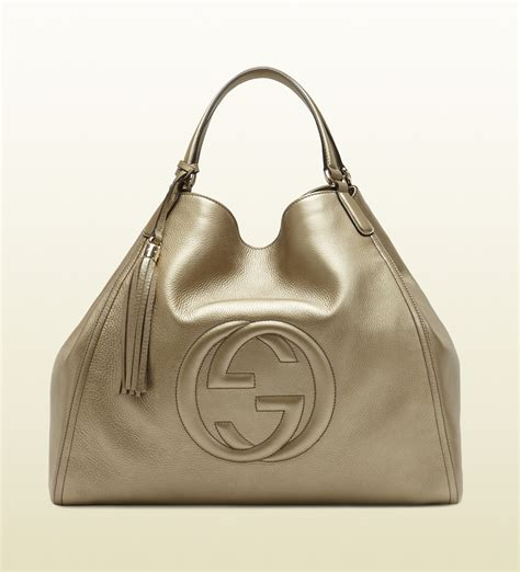 gucci soho bag gucci soho metallic leather shoulder bag in green beige