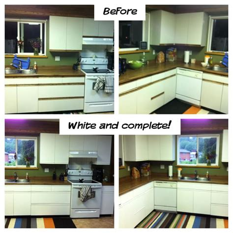 Before And After Melamine Kitchen Cabinets Repurposed Melamine Cabinets For 37 Using One Can Of