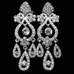 Chandelier Silver Earrings Chandelier Crystal Rhinestone Silver Earrings Bridal Long