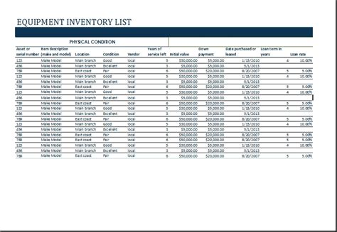 inventory list template excel equipment list template beepmunk