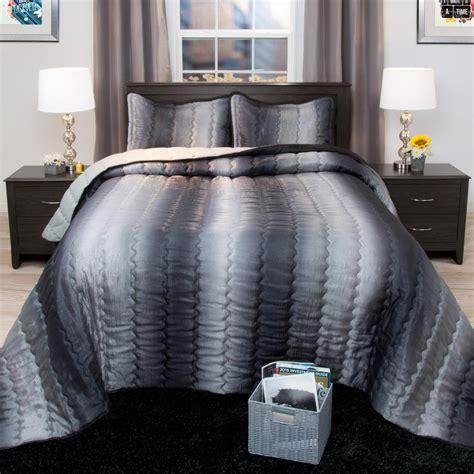 metallic comforter lavish home striped charcoal and silver metallic full 3
