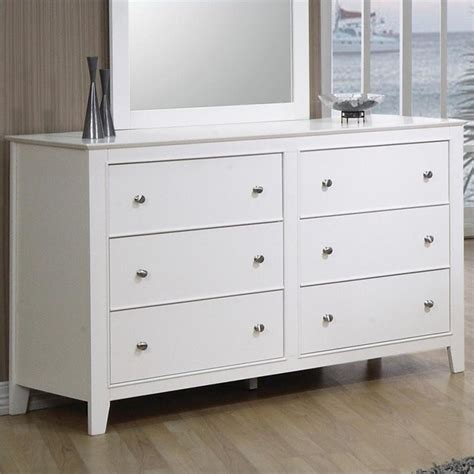 coaster selena 6 drawer dresser in white finish
