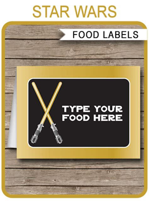 Wars Card Template by Gold Wars Food Labels Place Cards Birthday