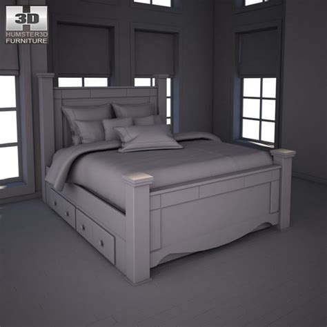shay queen poster bed ashley shay queen poster bed with storage 3d model hum3d
