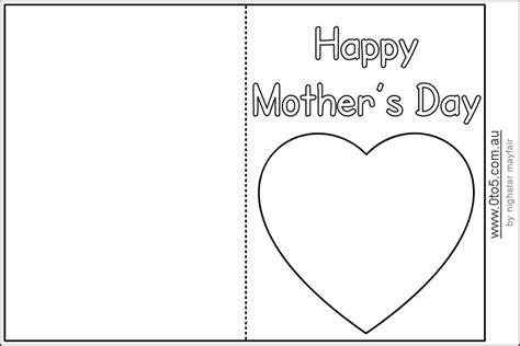 preschool mothers day card template mothers day cards templates