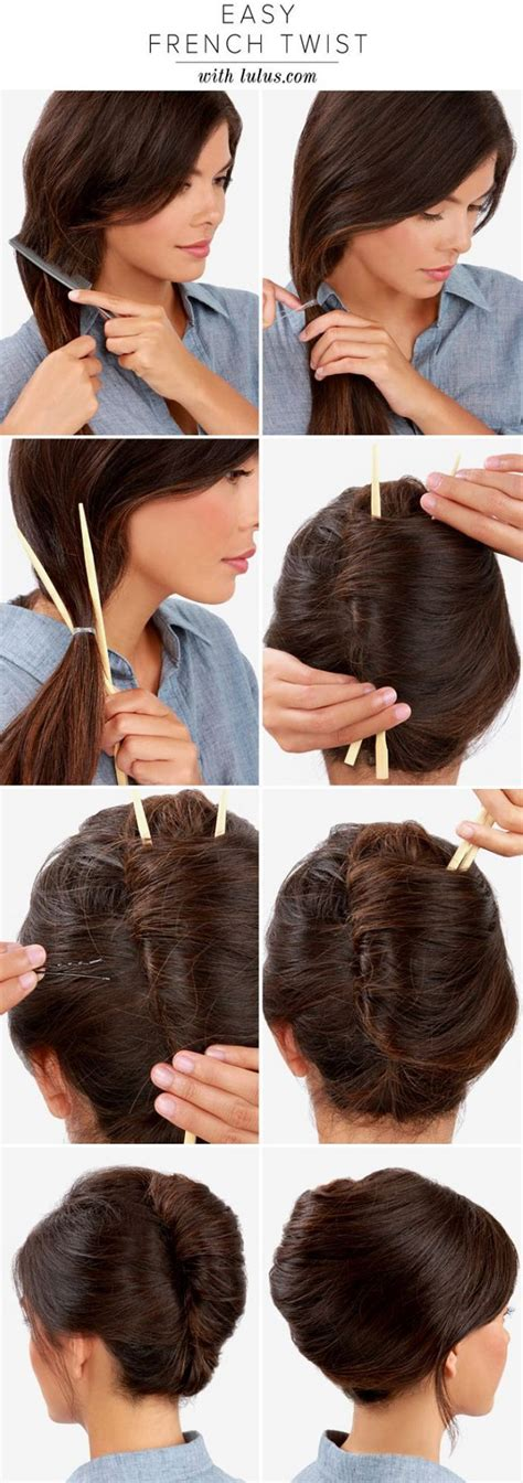 how to do french twist hairstyle make a french twist hairstyle using chopsticks alldaychic