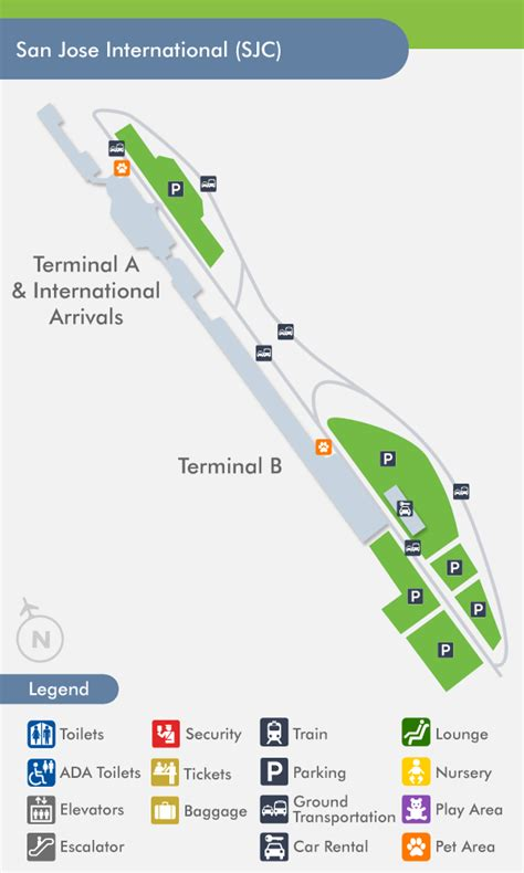 san jose international airport route map san jose airport map my