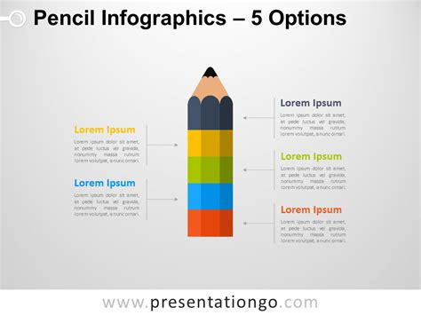 Infographic Pencil With 5 Options For Powerpoint Powerpoint Infographic Template