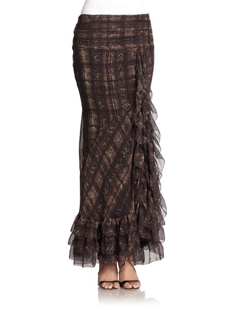 Ruffled Chiffon Skirt haute hippie ruffled snakeprint chiffon maxi skirt in