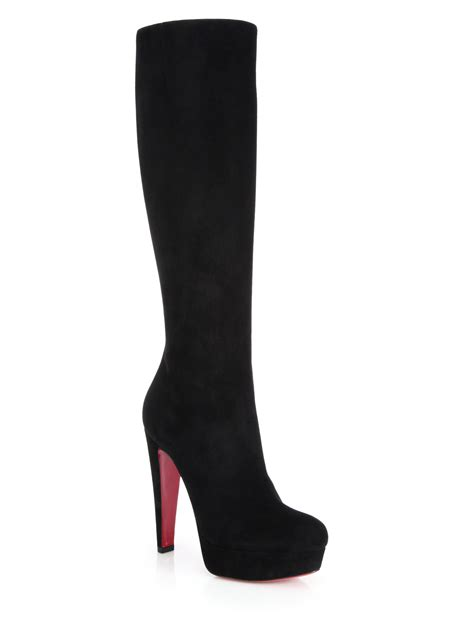 christian louboutin suede knee high platform boots in