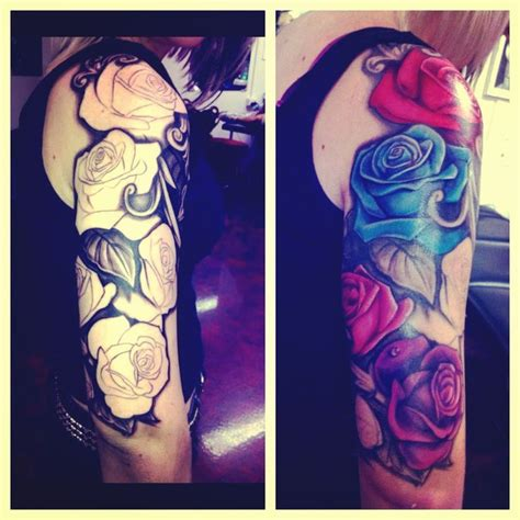 rose themed half sleeve rose half sleeve tattoo leafs black and white ink