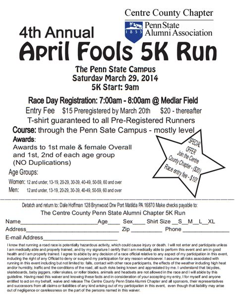 Ebensburg Area Running Club Blog March 2014 5k Race Registration Template