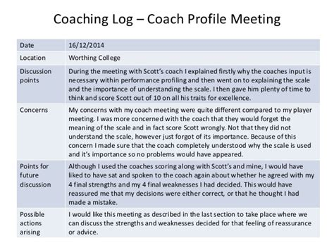 coaching profile template coaching log