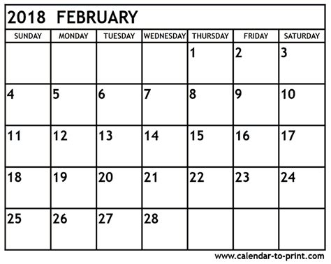 Calendar 2018 February And March February 2018 Calendar Printable