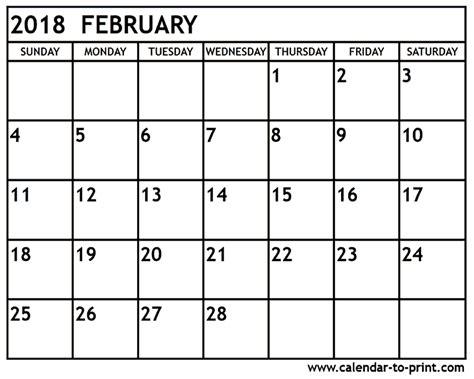 February 2018 Printable Calendar   2018 calendar printable