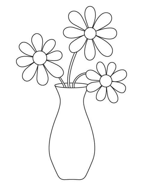 Flowers In Vase Coloring Pages by Flower Vase Coloring Page Free Flower Vase Coloring Page For Best Coloring Pages