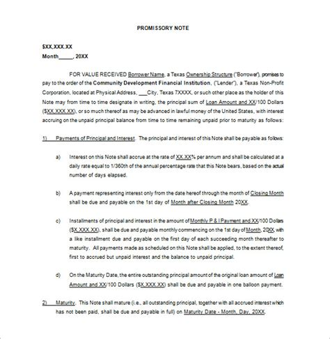 promissory note template florida promissory note template 34 free word pdf format