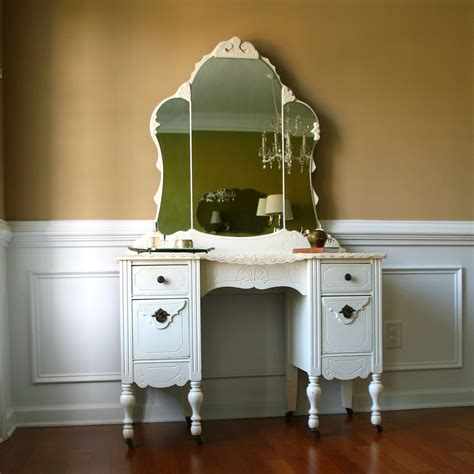 1930s vanity desk and mirror antique white bohemian