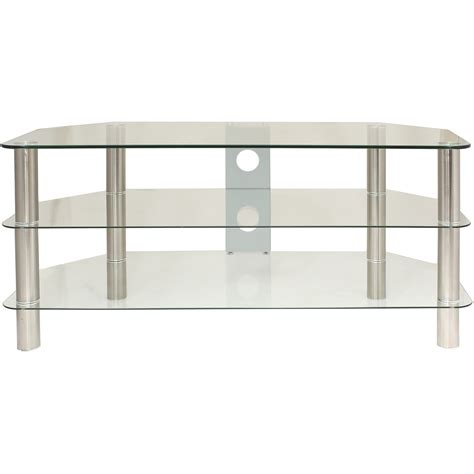 clear glass 3 tier tv stand unit shelf led lcd plasma up