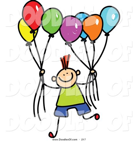 Vector clipart of a childs sketch of a boy holding a group of colorful balloons by prawny 217