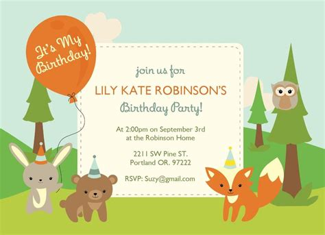 free printable birthday invitations woodland 92 best images about first birthday ideas on pinterest