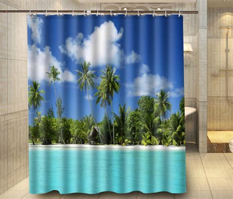 palm tree shower curtain tropical beach palm tree sky custom shower curtain