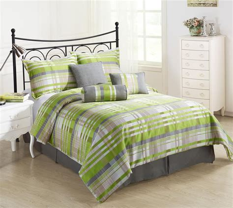 bright green bedding retro 7pc comforter set green grey