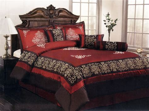 Burgundy Bed Set by 11 Pieces Satin Flocking Royal Floral Comforter Curtain