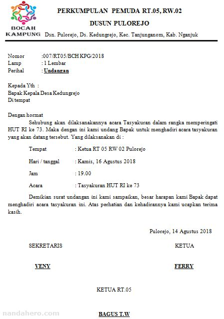 contoh surat undangan malam tasyakuran 17 agustus hut ri