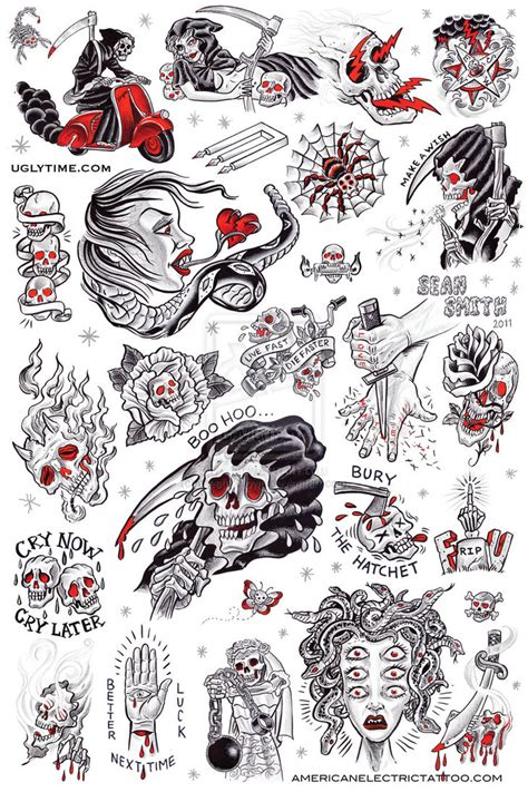 Tattoo Flash Drawings | tattoo flash poster 1 by creaturetown on deviantart