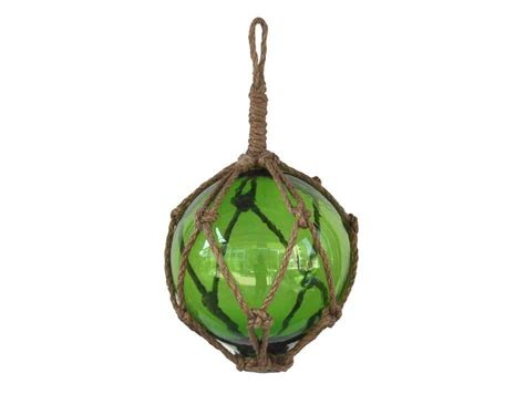 japanese glass green japanese glass ball fishing float with brown netting
