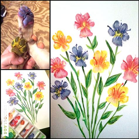painting you can print puppy paw print flowers crafty morning