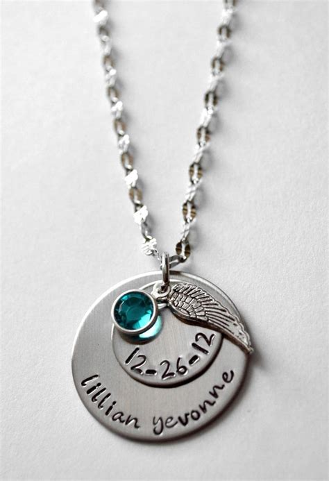 memorial necklace personalized memorial necklace birth necklace remembrance necklac