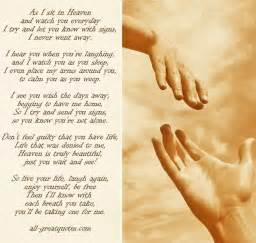 as i sit in heaven and watch you everyday poem memorial