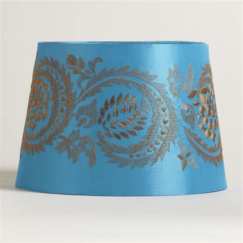 world market l shades blue embroidery accent l shade world market