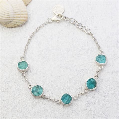 Handmade Sterling Silver Bracelet - apatite gemstone handmade sterling silver bracelet
