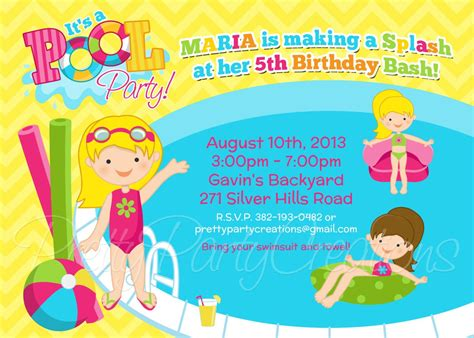 kids pool party birthday party invitations