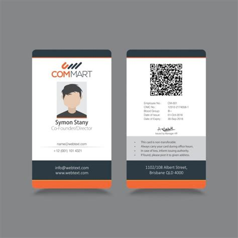 company id badge template modern simple id corporate identity vector free