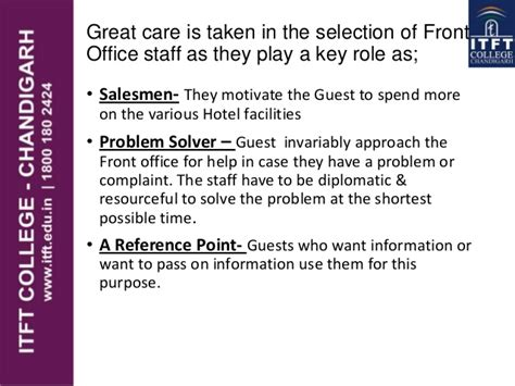 Qualities Of A Front Desk Officer Itft Qualities Of Front Office Staff